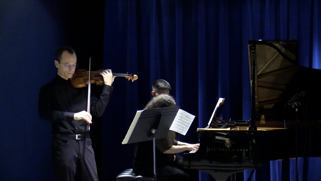 Garrett Fischbach live performance with violin and piano